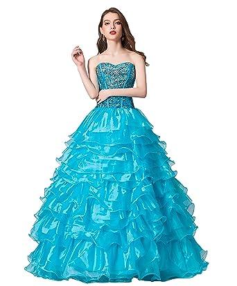2fb581a261e Ikerenwedding Women s Crystal Beaded Ball Gown Organza Ruffles Quinceanera  Dresses Blue US02