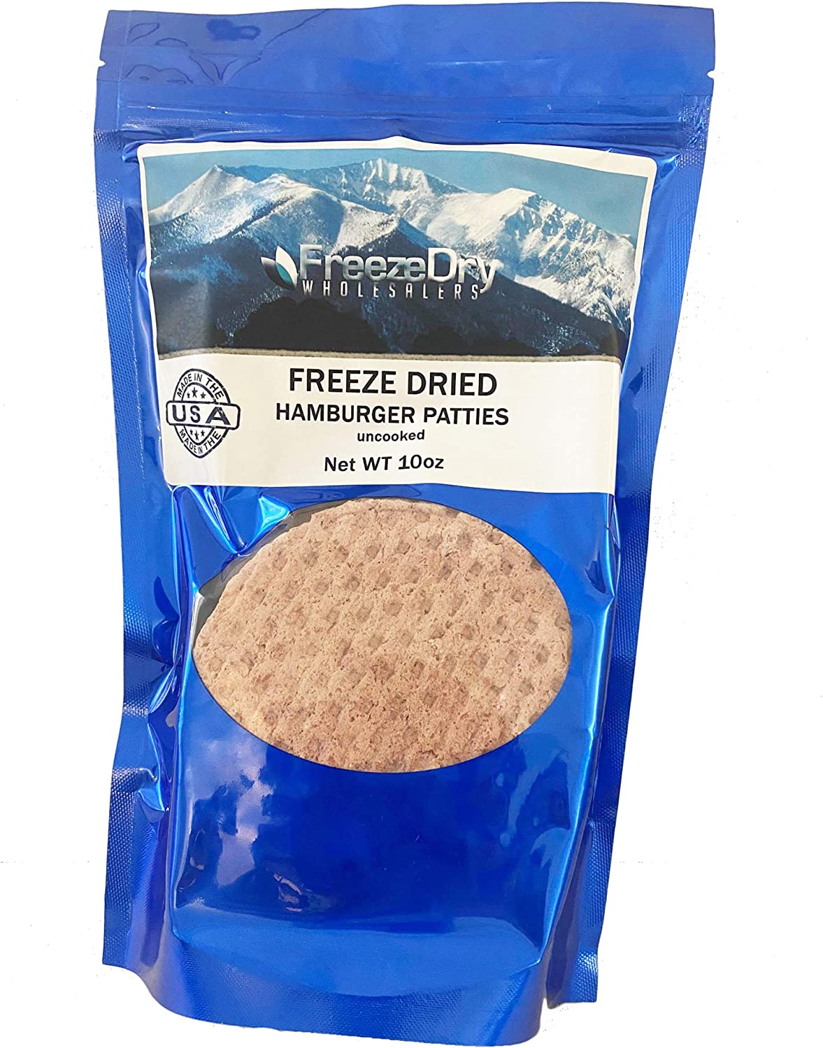 Freeze Dry Wholesalers Freeze Dried Beef Hamburger Patties Uncooked   Backpacking & Camping Food Emergency Food