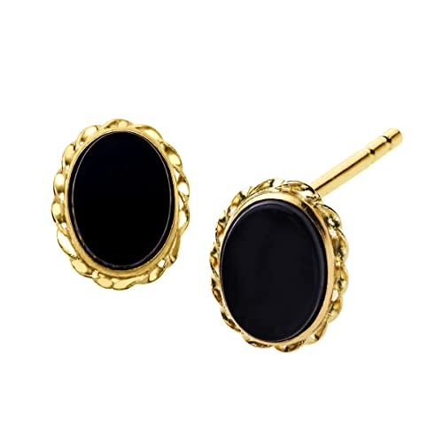 Natural Oval-Cut Onyx Stud Earrings in 14k Yellow Gold