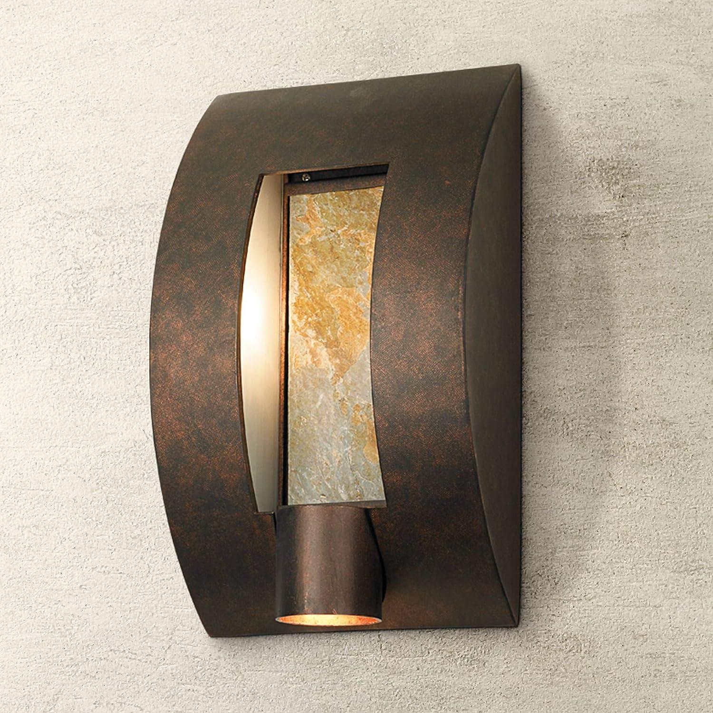 "Modern Outdoor Wall Light Fixture Bronze 16"" Framed Slate for Exterior House Patio Porch"
