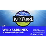 Wild Planet, Wild Sardines in Spring Water, 4.4 Ounce Tin (Pack of 12)