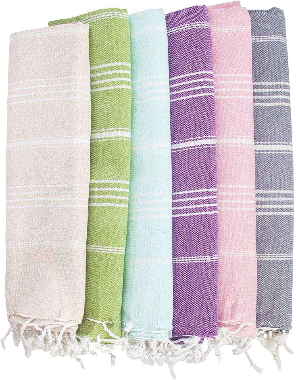 HAVLULAND Set of 6 Towel%100 Cotton Pestemal Turkish Towel 76x38 Bath Towel Turkish Beach Blanket Travel Towels Fast Drying Lightweight Beach Towel