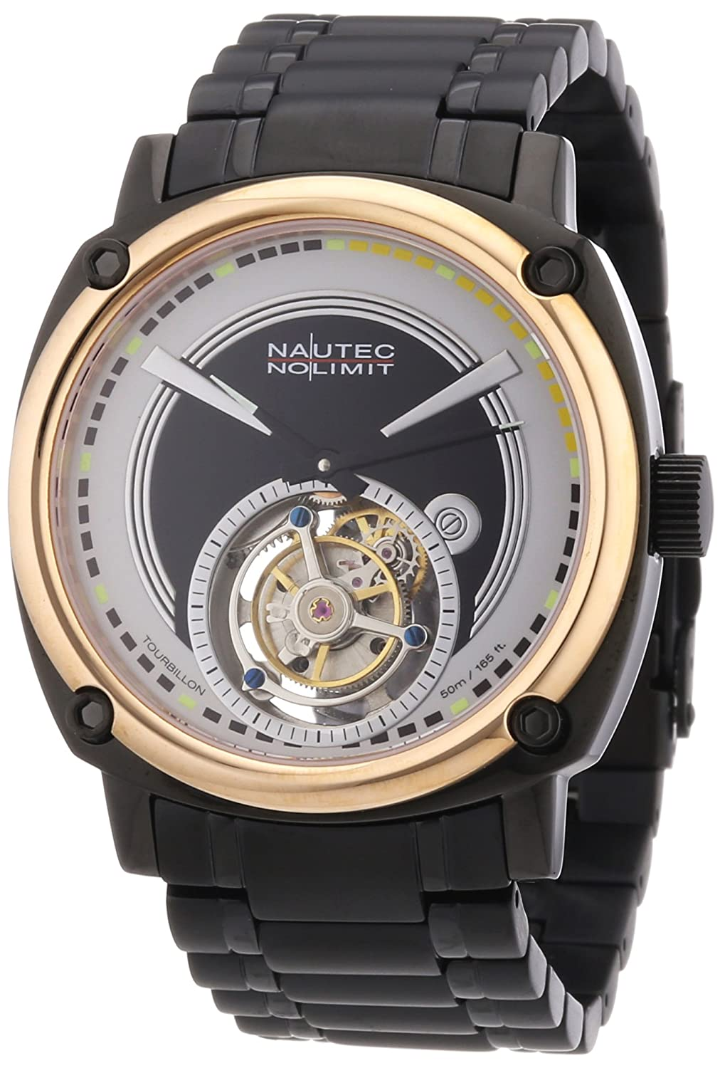 Nautec No Limit Victory Tourbillon - Reloj analógico de caballero manual con correa de acero inoxidable negra - sumergible a 50 metros