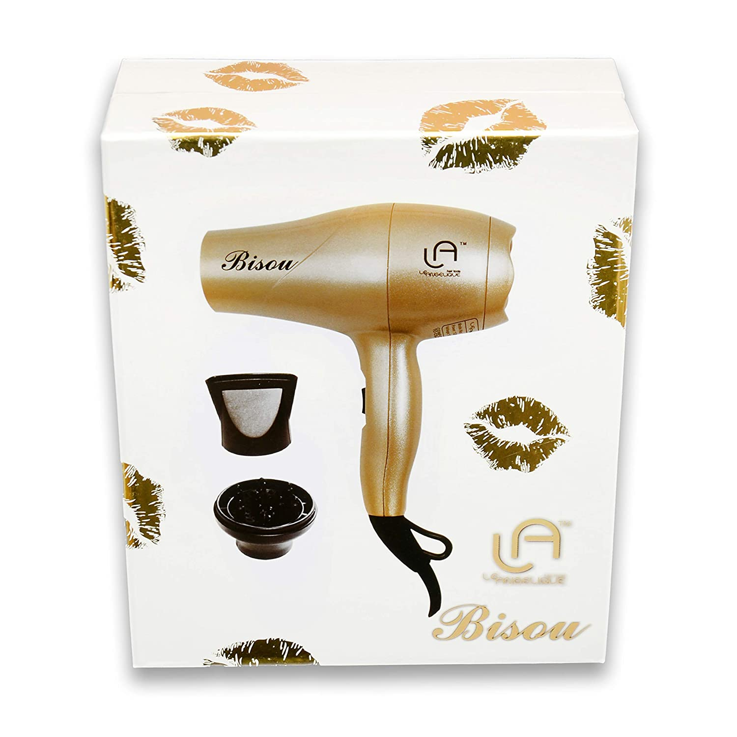 Le Angelique Mini Hair Dryer 1200W Super Strong with Diffuser Travel Size Gold