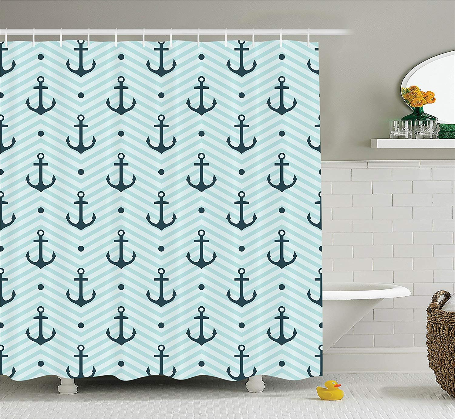 Printing Anchor Shower Curtain Set Home Decor, Anchors Zigzag Chevron Background Abstract Waves Monochromic Artwork, Bathroom Curtain Home Decorations Machine Washable, 72 x 84 Inches Green