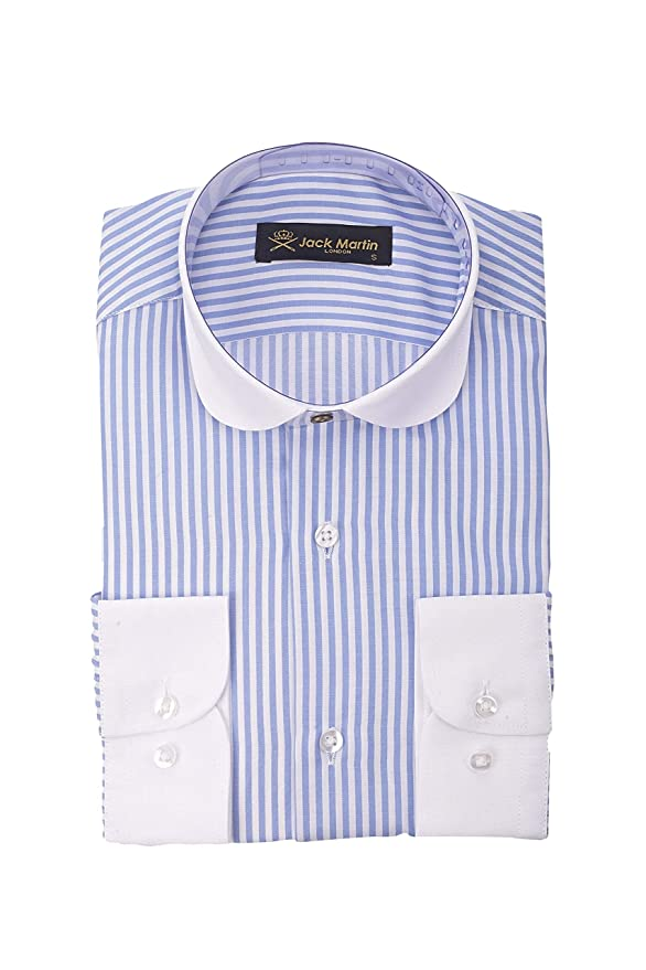 1920s Fashion for Men Jack Martin London Peaky Blinders - Club/Penny Collar - Blue & White Bengal Stripe Slim Fit Shirt £29.00 AT vintagedancer.com
