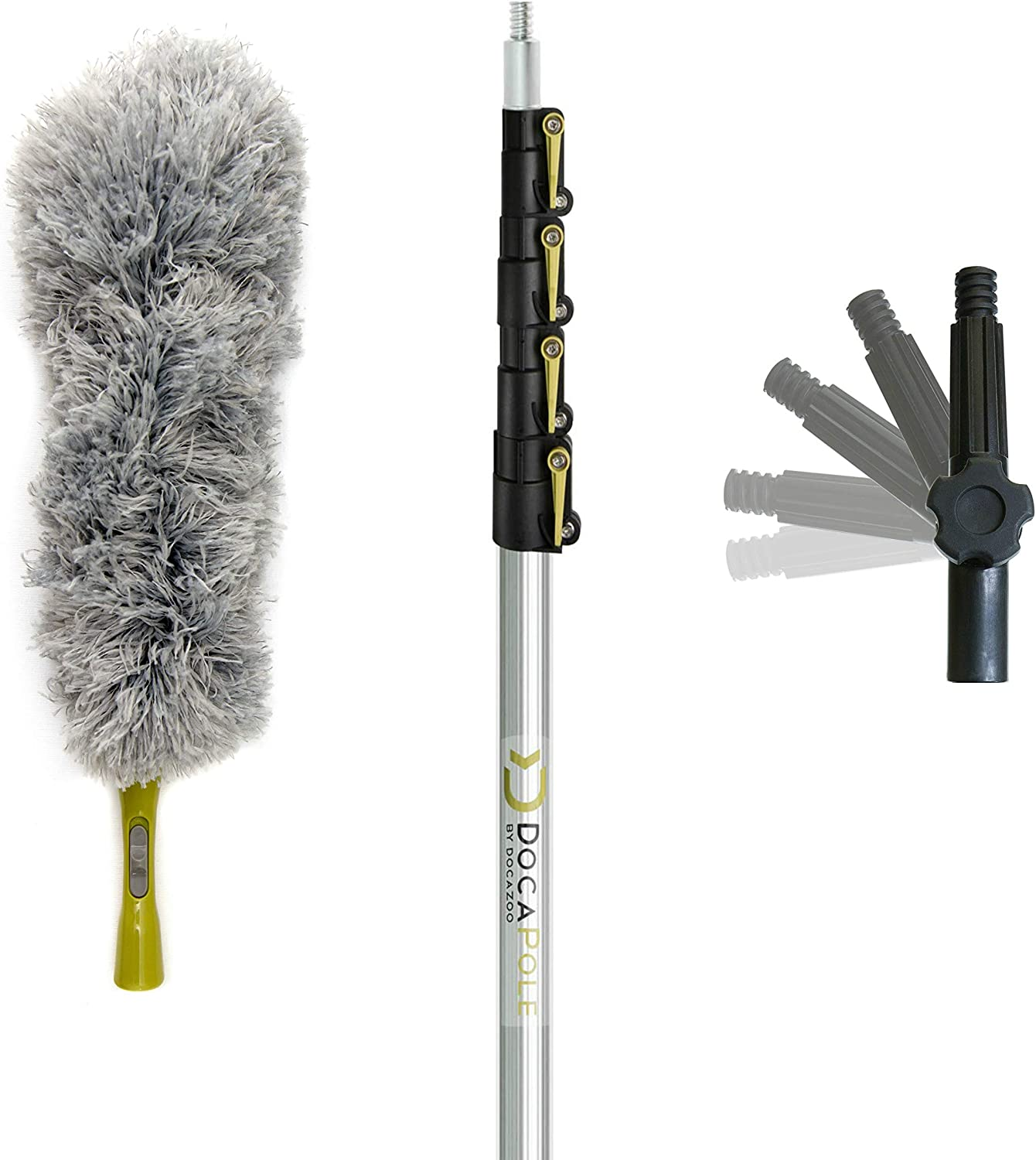 DocaPole 6-24 Foot Extension Pole + Microfiber Feather Duster // High Reach Dusting Kit for Dusting High Ceilings and Surfaces with Telescopic Pole // Telescoping Pole for Dusting
