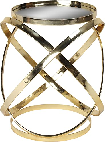 Kate and Laurel Marea Round Metal Mirrored Accent Side Table, Gold