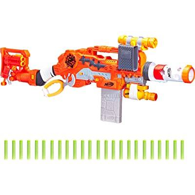 Scravenger Nerf Zombie Strike Toy Blaster with Two 12-Dart Clips, 26 Darts, Light, Barrel Extension, X 40Mm, Stock, 2-Dart Blaster - For Kids, Teens, Adults: Toys & Games