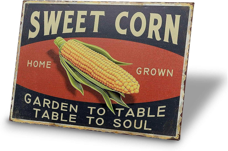 TINSIGNS Sweet Corn Tin Signs Retro Vintage Decor Metal Bar Farm Kitchen Sign12x8Inch