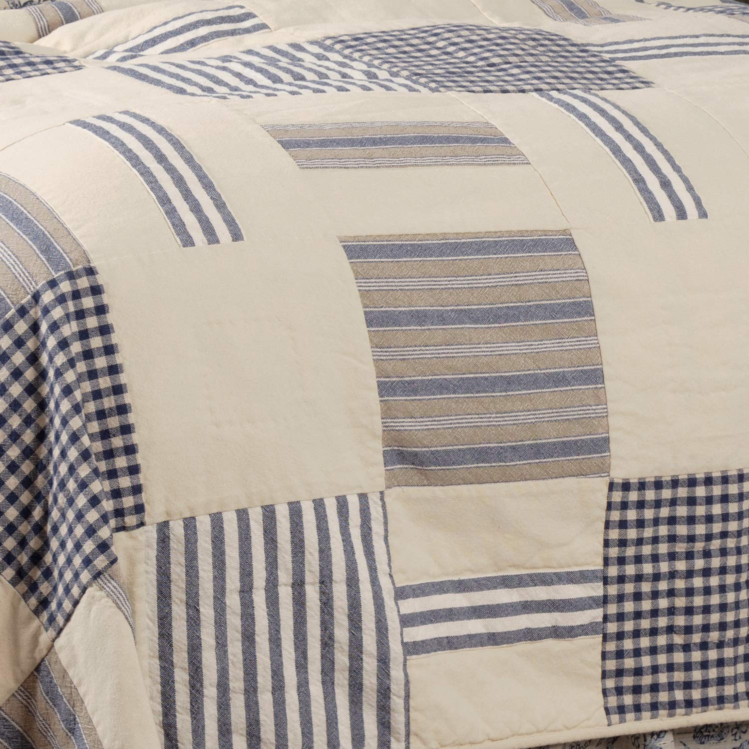 Piper Classics Doylestown Blue Queen Patchwork Quilt, Gingham Checks, Grain Sack & Ticking Stripes, Reversible to Floral Print, Blue & Cream Vintage Farmhouse Bedding, Rustic Country, Cottage Bedroom by Piper Classics (Image #5)