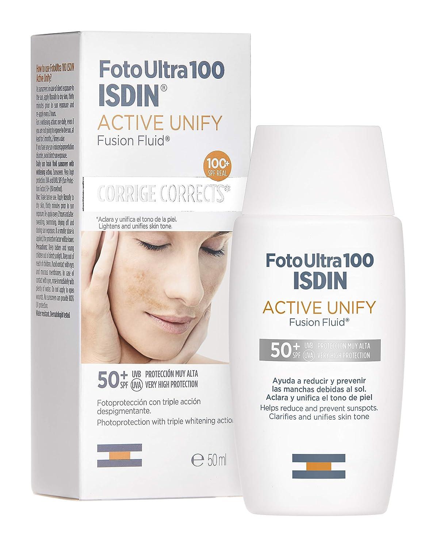 FotoUltra 100 ISDIN Active Unify SPF 50+ - Protector solar facial, Aclara y unifica el tono de piel, 50 ml