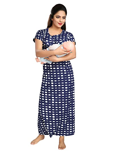TUCUTE Women s Dott s Print (Navy Blue) Feeding Maternity Nursing Nighty  Style  1260  Amazon.in  Clothing   Accessories 3c1cfade8
