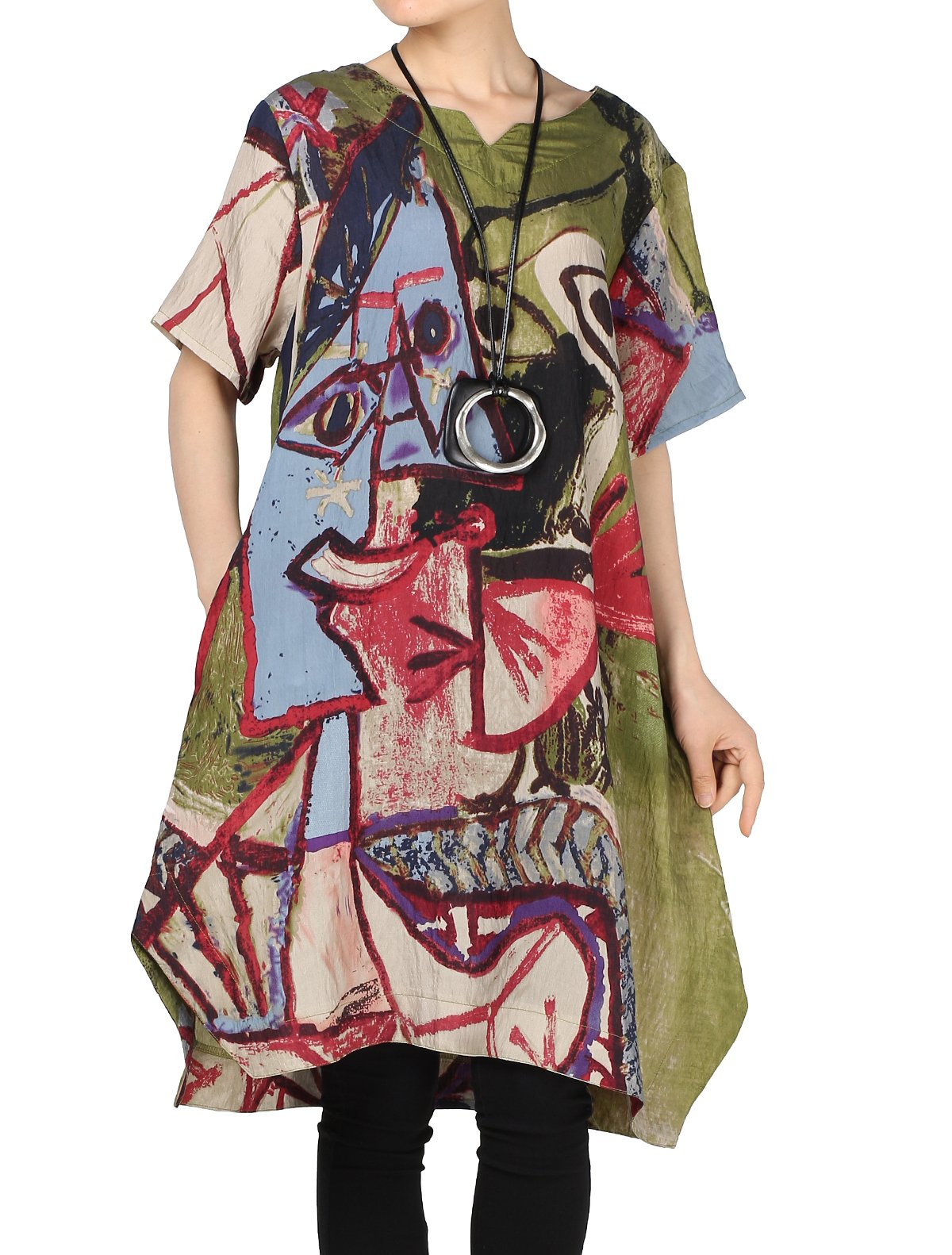 Mordenmiss Women's Summer Abstract Printing Baggy Dress with Pockets XL Green