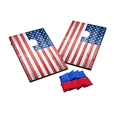 Wild Sports Stars and Stipes Cornhole Set, Flag Design, Two 2' x 3' Boards and 8 Bags