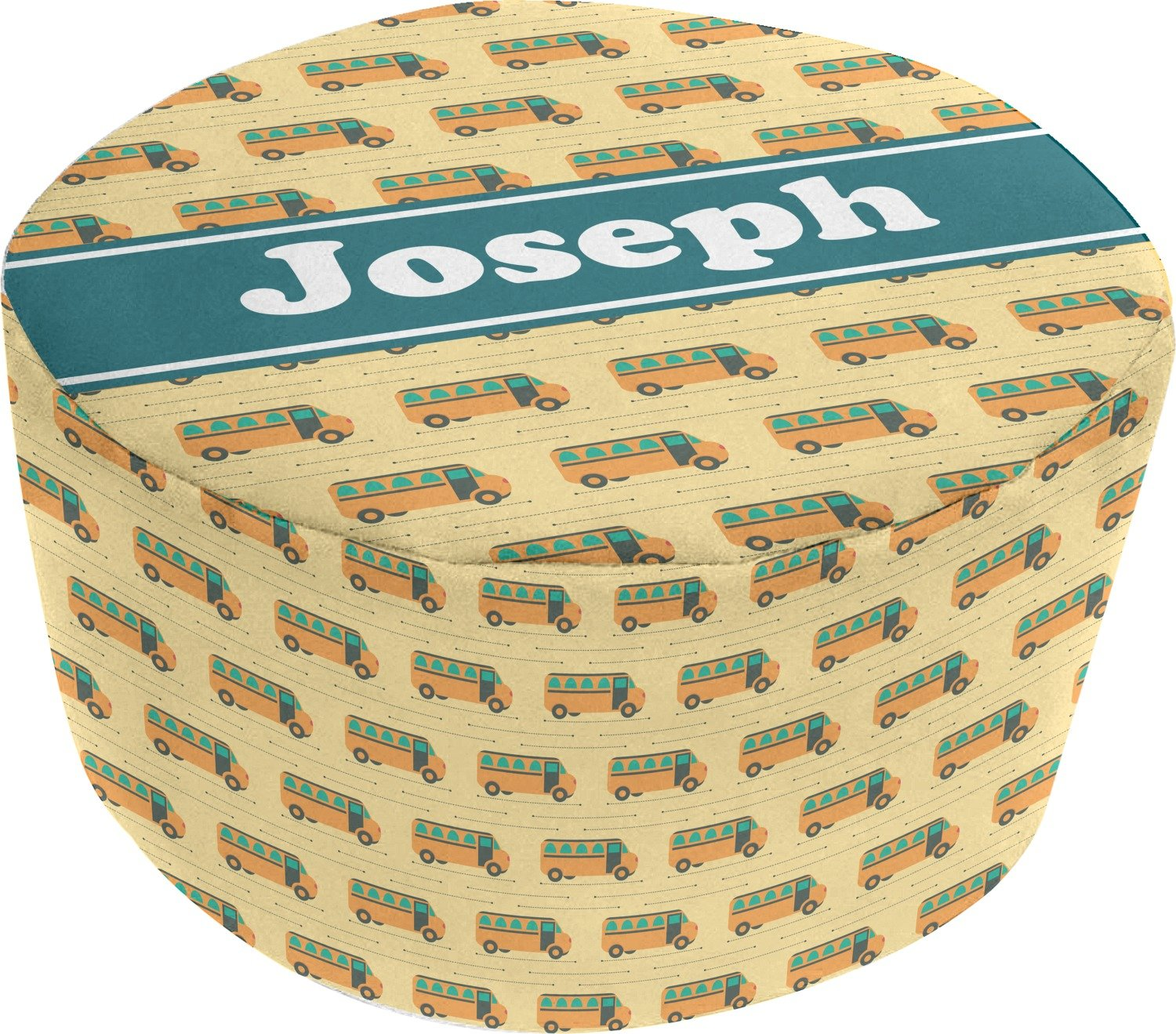 School Bus Round Pouf Ottoman (Personalized)