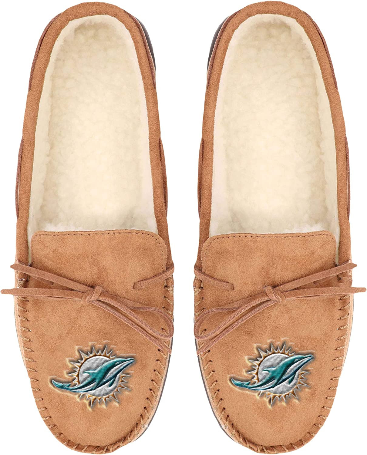 NFL Mens Football Team Logo Moccasin Slippers Shoes