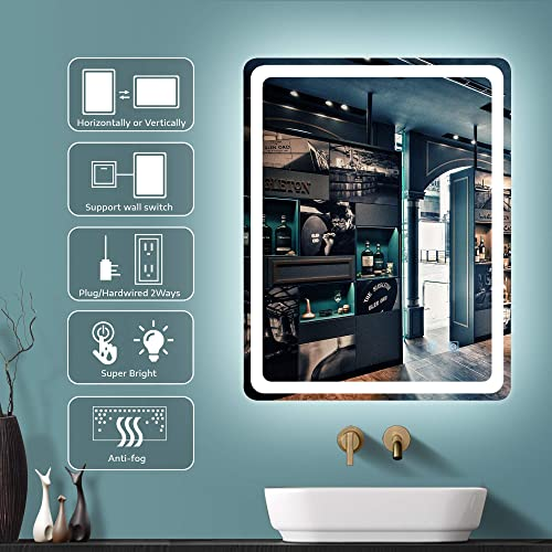 GETPRO 32X24 LED Bathroom Mirror Wall-Mounted Makeup Vanity Mirror