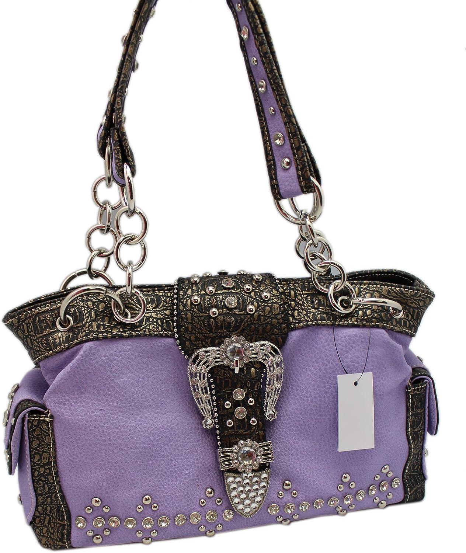 Purple Western Cowgirl Shoulder Handbag With Zipper Top Closure