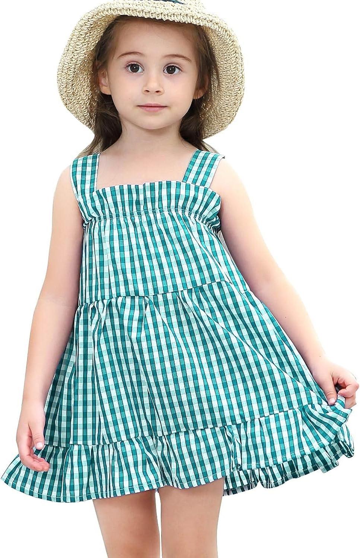 Azul Verde Happy Cherry Vestido con Tirantes sin Manga para Ni/ñas Beb/és de 1-9 a/ños Estampado a Cuadros para Verano Playa de Algod/ón
