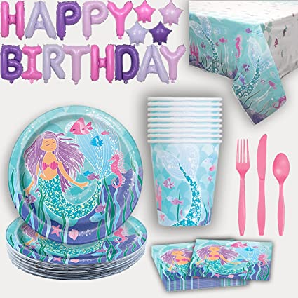 Amazon.com: Suministros para fiestas de sirena para 16 ...