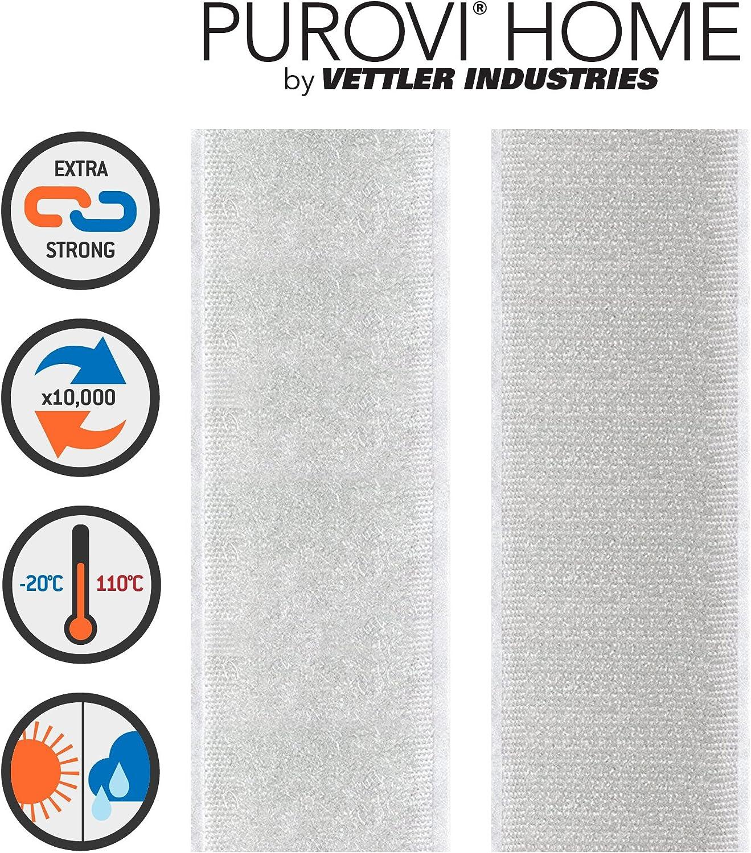 20mm breit wei/ß Purovi/® Klettband selbstklebend Meterware Flausch /& Haken
