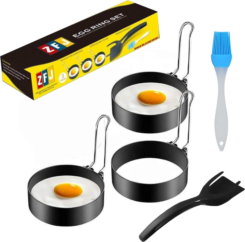 Egg Ring Set For Shaping Eggs or Frying - Round Egg Cooker Rings For Cooking - Stainless Steel Non Stick Egg Mold Shaper Circles For Fried Egg McMuffin Pancake - Egg Maker Molds Sets of 3