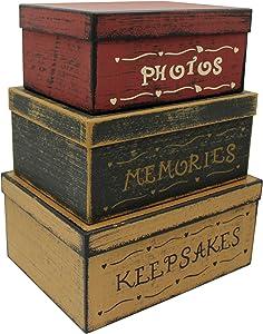 CVHOMEDECO. Primitive Vintage Rectangular Photos, Memories, Keepsakes Cardboard Nesting Boxes, Large 12 X 9 X 5-1/2 Inch. Set of 3.