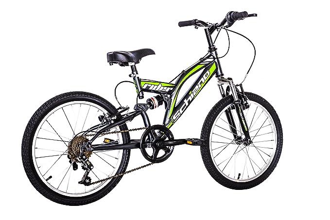 F.lli Schiano Rider Bicicleta Biamortiguada, Hombre, Antracita/Verde, 20