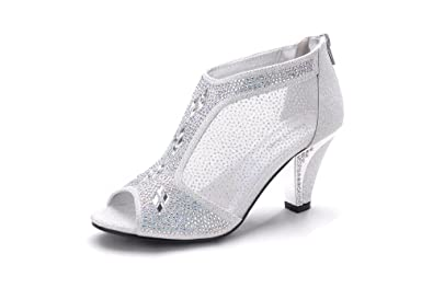 b9e7175bbf15 Mila Lady Women s Lexie Crystal Dress Heels Low Heels Wedding Shoes  M-KIMI26 Silver 5