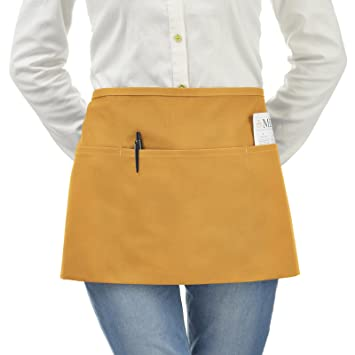 VEEYOO Stylist Waist Chef Apron With Pockets, Durable Spun Poly Cotton,  Restaurant Short Bistro