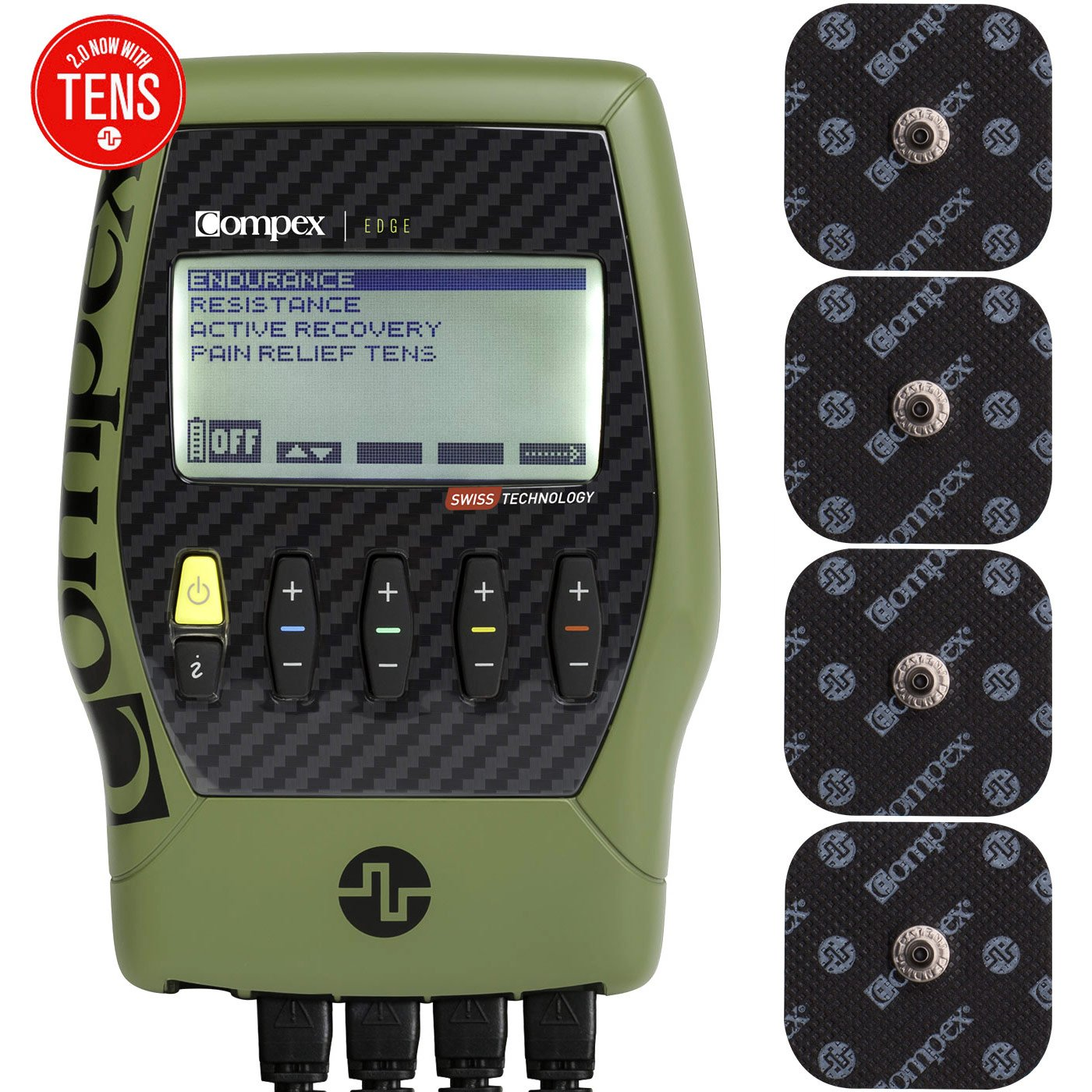 Compex Edge 2.0 Muscle Stimulator with TENS Bundle Kit: Electric Muscle Stimulation Machine (EMS) , 12 Snap Electrodes, 4 Programs, Lead Wires, Battery, Case / 2 strength, 1 recovery, 1 TENS
