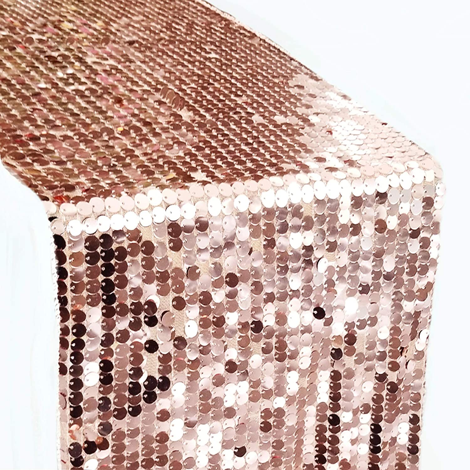 Bright Tricks Rose Gold Table Runner, Rose Gold Party, Rose Gold Party Decor, Sequin Table Runners 13 x 108 Glitter Payette Rose Gold Tablecloth Party Birthday Decorations Bridal Baby Shower