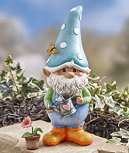 The Lakeside Collection Garden Gnome Decorative Man Lawn Statue with Flower Pot - Gnorm