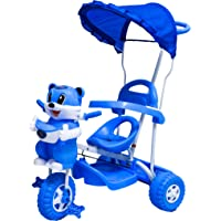 Tricycle For Kids in Steel Frame with Front and Back Basket (Blue) by KGC Networks