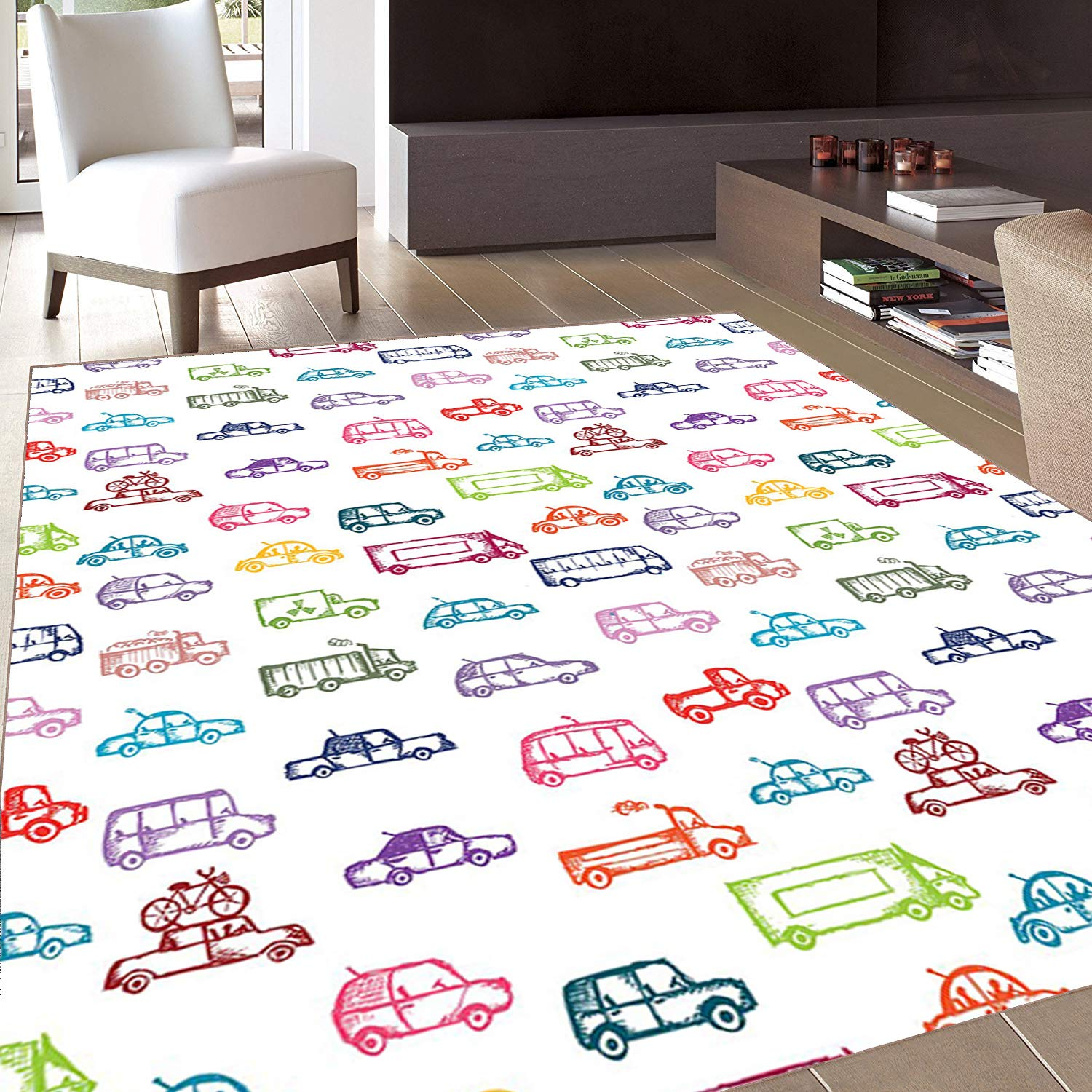 Rug,FloorMatRug,Cars,AreaRug,Various Types of Vehicles Bus Truck Garbage Truck Sports Car Vibrant Colored Design,Home mat,4