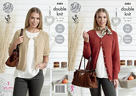 King Cole 4484 Knitting Pattern Ladies Cardigans In Bamboo Cotton Dk