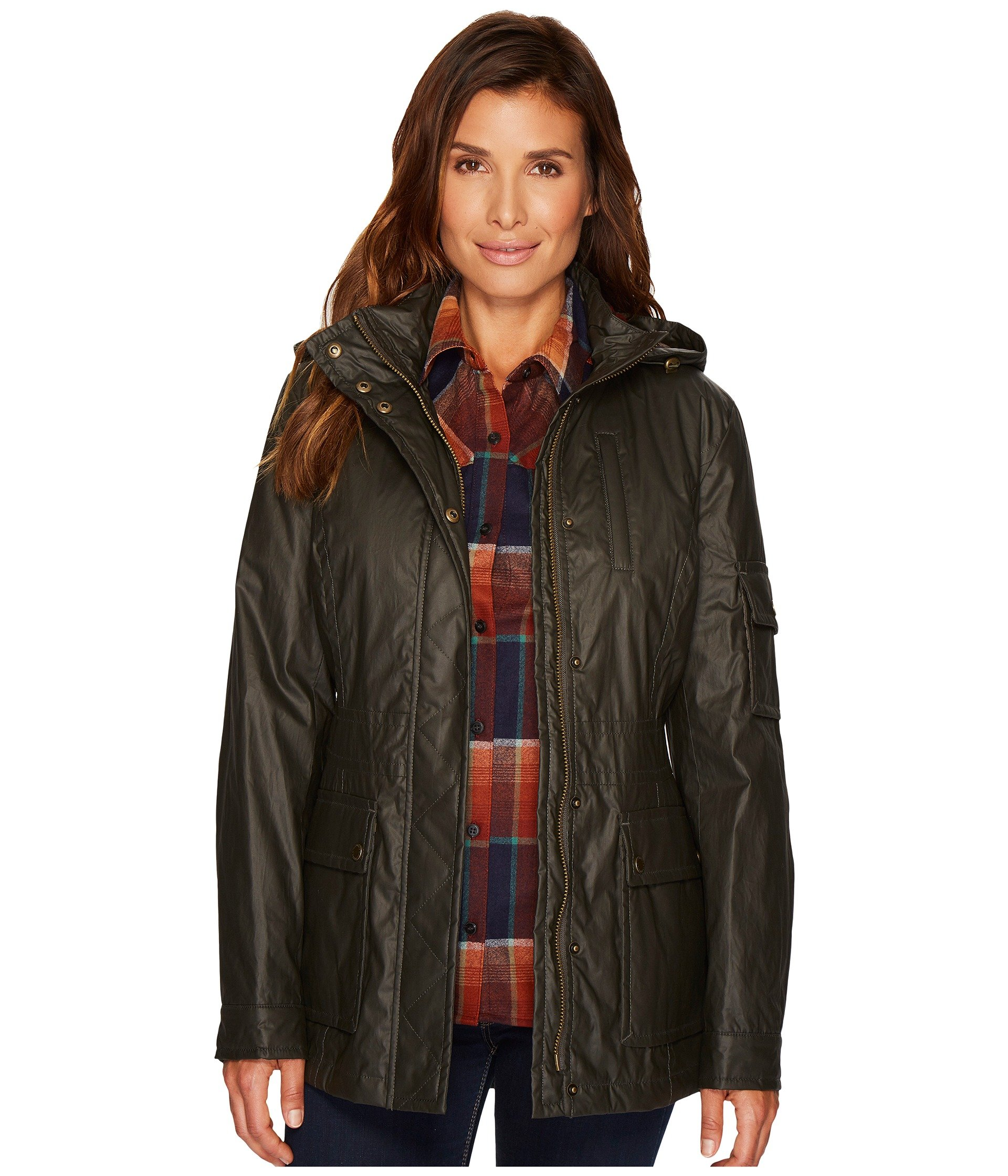 Pendleton Women's Waxed Cotton Hooded Zip Front Jacket, Olive, M by Pendleton (Image #1)