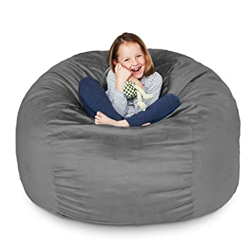 Lumaland Luxury 3 Foot Bean Bag Chair With Microsuede Cover Dark Grey Machine Washable