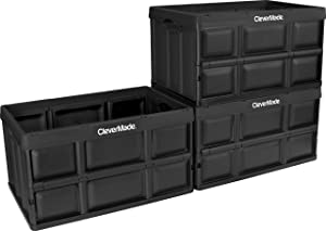 CleverMade 62L Collapsible Storage Bins - Durable Folding Plastic Stackable Utility Crates, Solid Wall CleverCrates, 3 Pack, Black
