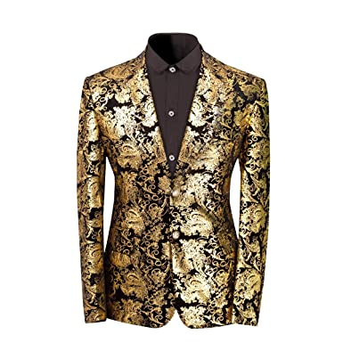 9187bf743c6 Percy Perry Men s Luxury Dress Floral Suit Notched Lapel Slim Fit Blazer  Jacket at Amazon Men s Clothing store