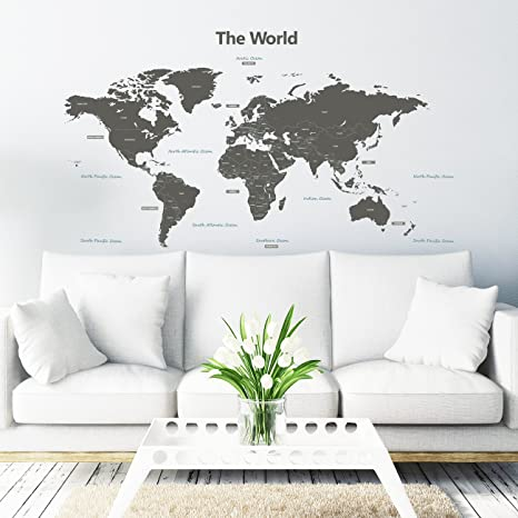 Decowall dlt 1609g modern grey world map peel and stick nursery kids decowall dlt 1609g modern grey world map peel and stick nursery kids wall decals stickers gumiabroncs Choice Image
