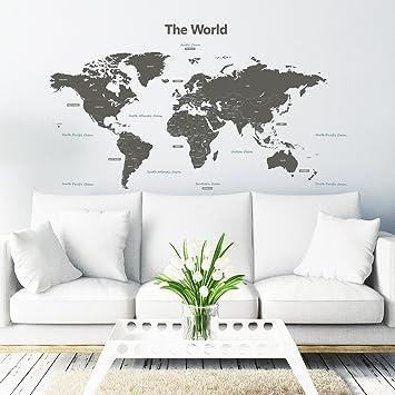 Amazoncom Decowall DLTG Modern Grey World Map Kids Wall - Wall decals map