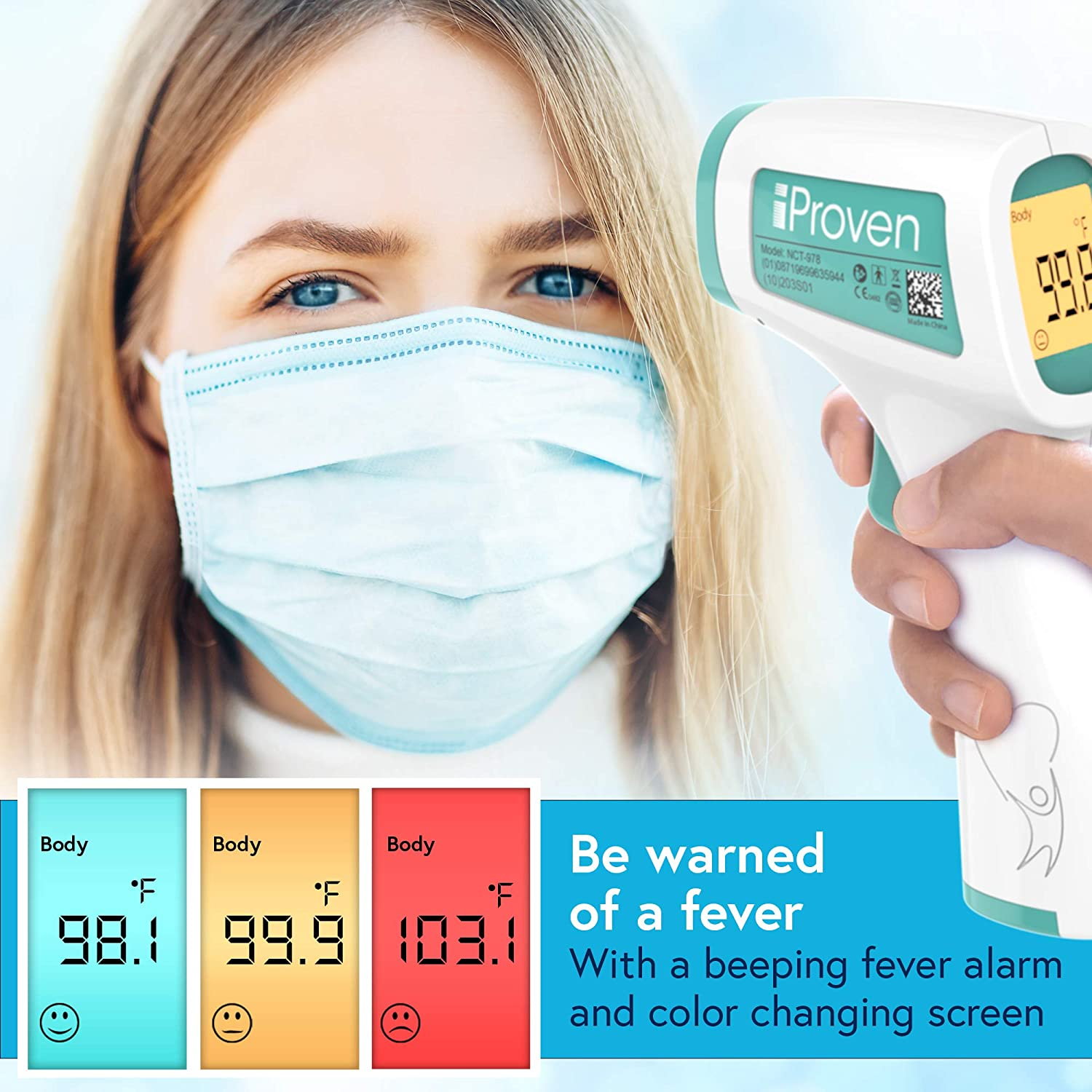 iProven No Touch Thermometer for Adults, Kids and Babies, Touchless Thermometer, 1s Instant Accurate Readings, Forehead Infrared Thermometer with Fever Alarm, Indoor, and Outdoor Use (Green): Industrial & Scientific