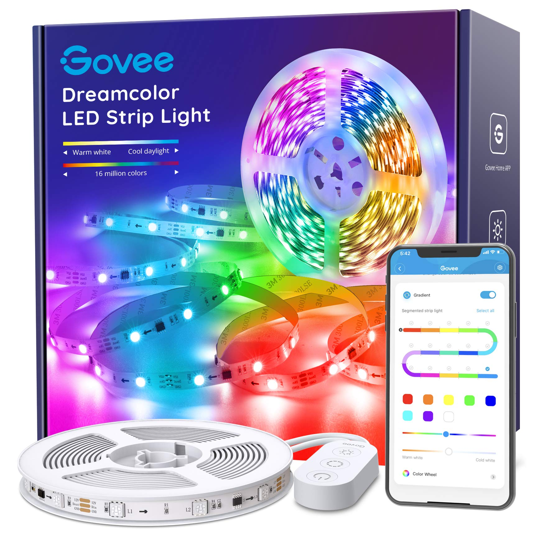 Govee LED Strip Lights RGBIC, 16.4FT Bluetooth Color Changing Rainbow LED Lights, APP Control with Segmented Control Smart Color Picking, Multicolor LED Music Lights for Bedroom, Room, Kitchen, Party