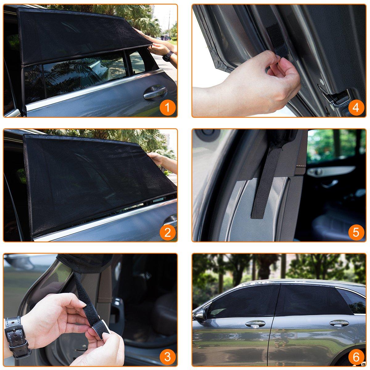 Baby Car Sun Shade,Car Side Window Sun Shade,Block Harmful UV,Free Towel Meleden 4 Pack Car Sun Shades for Baby Front and Rear Side Car Sun Shades