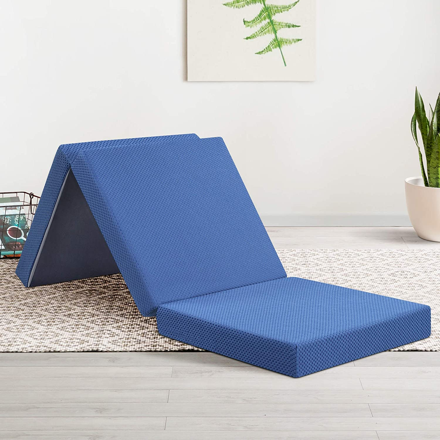 Olee Sleep Tri-Folding Memory Foam Topper, 4'' H, Blue: Furniture & Decor