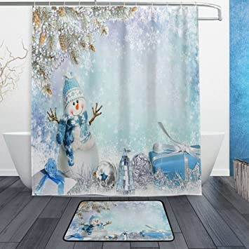 Merry Christmas With Elegant Snowman Waterproof Polyester Fabric Shower Curtain 60quot X 72quot