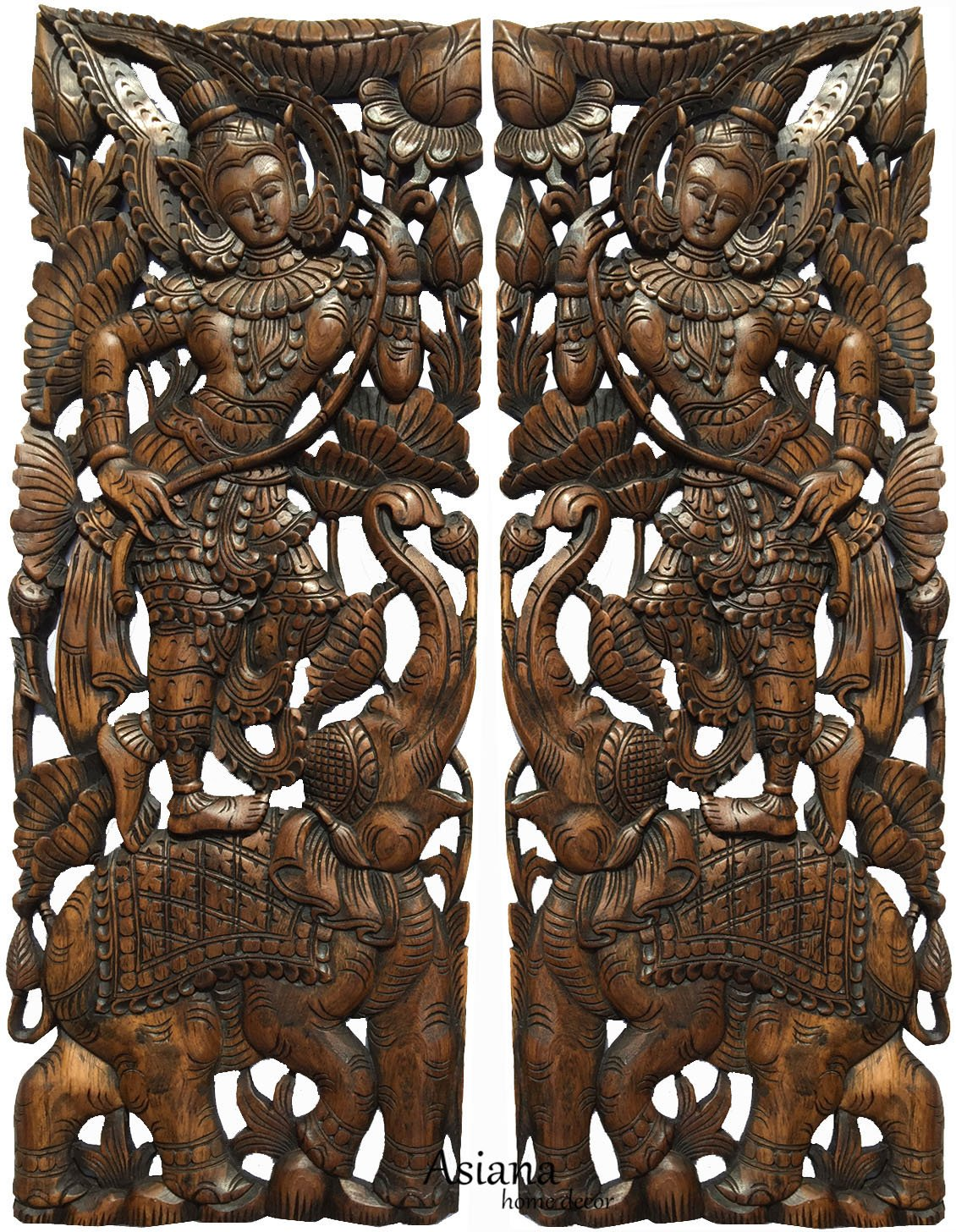 """Sawaddee Thai Traditional Figure with Elephant Carved Wood Wall Decor Panel in Dark Brown Finish 35.5""""x13.5""""x1'' Each, Set of 2 Pcs by Asiana Home Decor"""