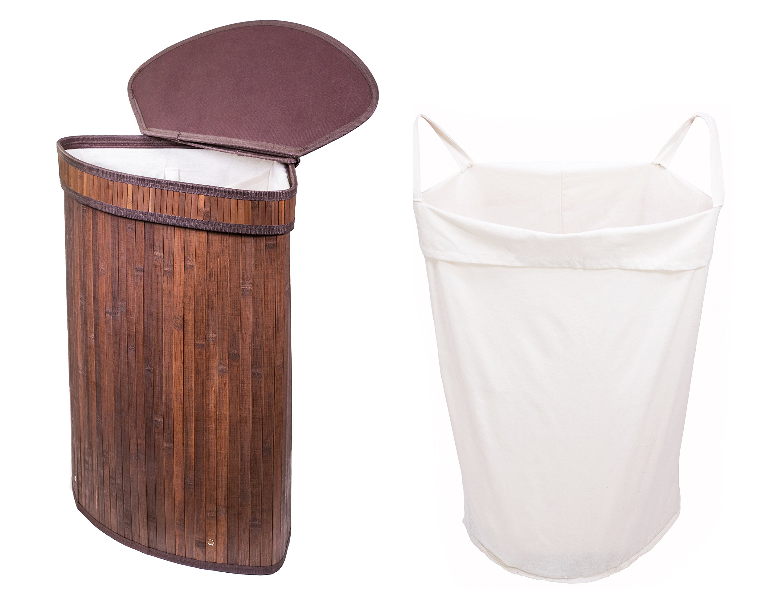 Adorn Home Single/Double Corner Bamboo Laundry Hamper with Attached Hinged Lid |Single and Double Cloth Liners | Handle on Basket and Liner | Collapsible | Espresso Bamboo/Black Bamboo (Brown)